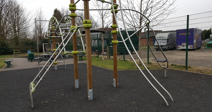 Playground equipment in lostock green play area