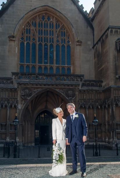 Esther McVey and Philip Davies in front of the House of Commons. Picture by Ash Bosamia