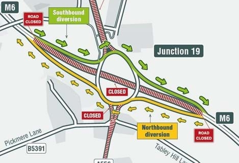 Map of M6 J19 Up And Over Diversion